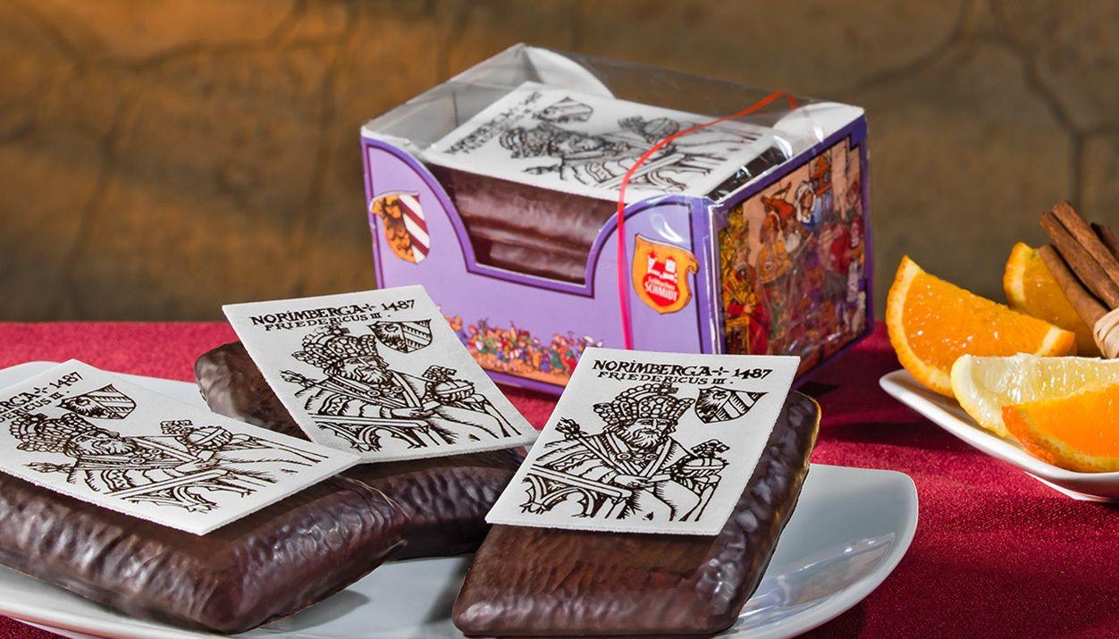 Kaiserlein 4 brown filled Lebkuchen with chocolate coating