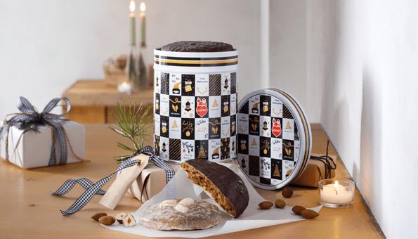 Fünf Elisen-Lebkuchen in Weihnachtsdose