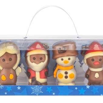 Vier niedliche Schoko-Figuren aus feiner Schokolade