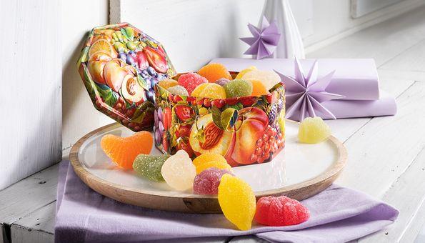 Weiche leckere englische Gelee-Früchte in einer attraktiven Dose