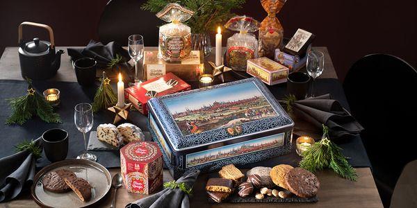 Feine Weihnachtsspezialitäten in Metalltruhe