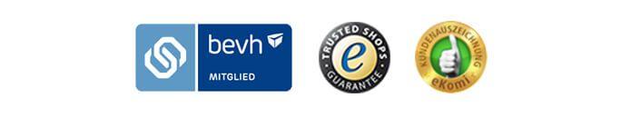 Geprüfte Qualität durch Trusted Shops, eKomi und Mitglied bei bevh