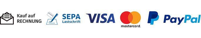 Die Zahlungsmöglichkeiten Kauf auf Rechnung, SEPA Lastschrift, Visa, Mastercard und PayPal angeboten